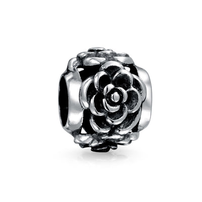 Rose Flower Garden Spring Charm Bead Oxidized 925 Sterling Silver