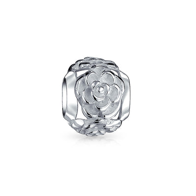 Garden Flower Rose Spacer Charm Bead 925 Sterling Silver