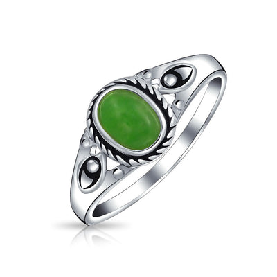 Boho Oval Dyed Green Jade Bezel Filigree Band Ring 925 Sterling Silver