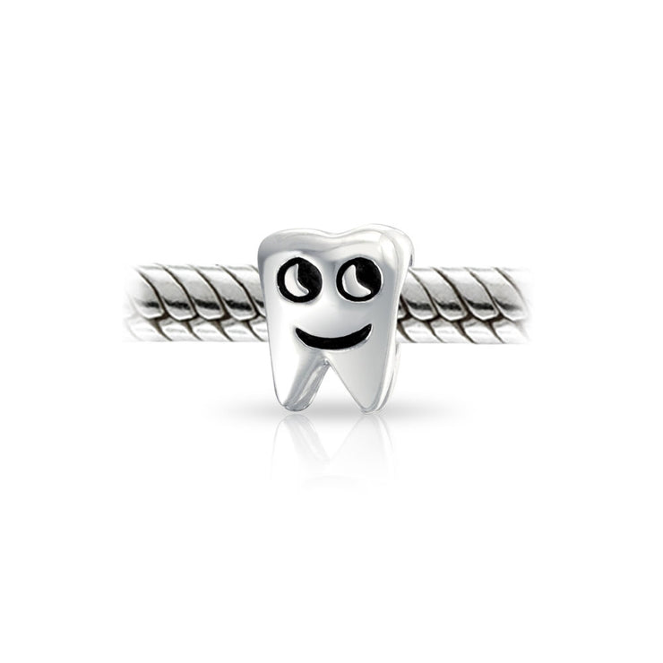 Smiling Tooth Fairy Dentist Charm Bead 925 Sterling Silver