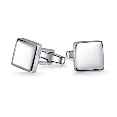 Solid Square Cuff Links For Men Engravable Shirt Cufflinks Polished