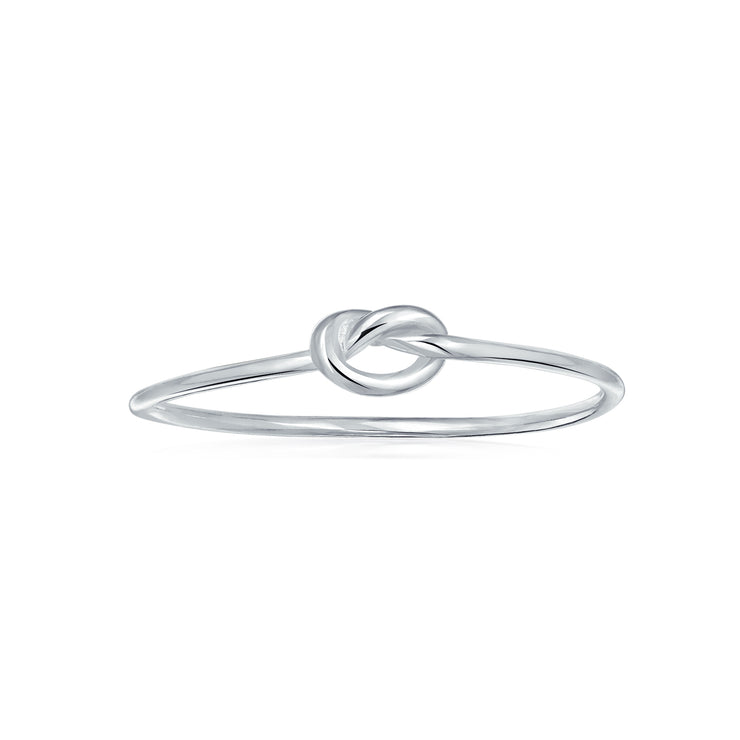 Delicate Midi Knuckle Thin 1MM Band Love Knot Ring 925 Sterling Silver