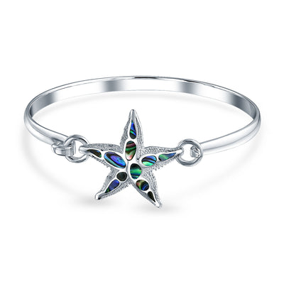 Nautical Beach Starfish Abalone Shell Bangle Bracelet Sterling Silver