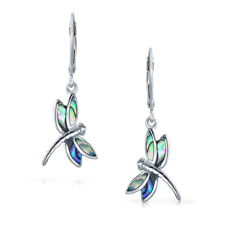 Dragonfly Garden Abalone Drop Leverback Earrings 925 Sterling Silver