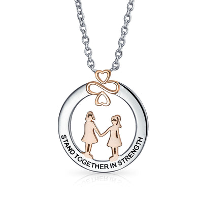 Ayllu Stand Together in Strength BFF Pendant Necklace Rose Gold Silver