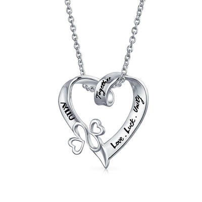AYLLU 925 Silver Love Luck Unity Together Heart Pendant Necklace