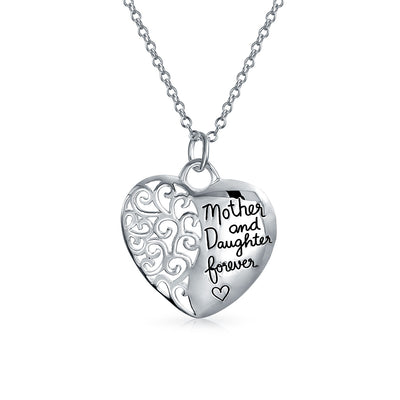 Mother Daughter Bond Word Quote Heart Pendant Necklace Sterling Silver