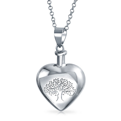 Tree Of Life Heart Locket Pendant Memorial Cremation Urn For Ashes