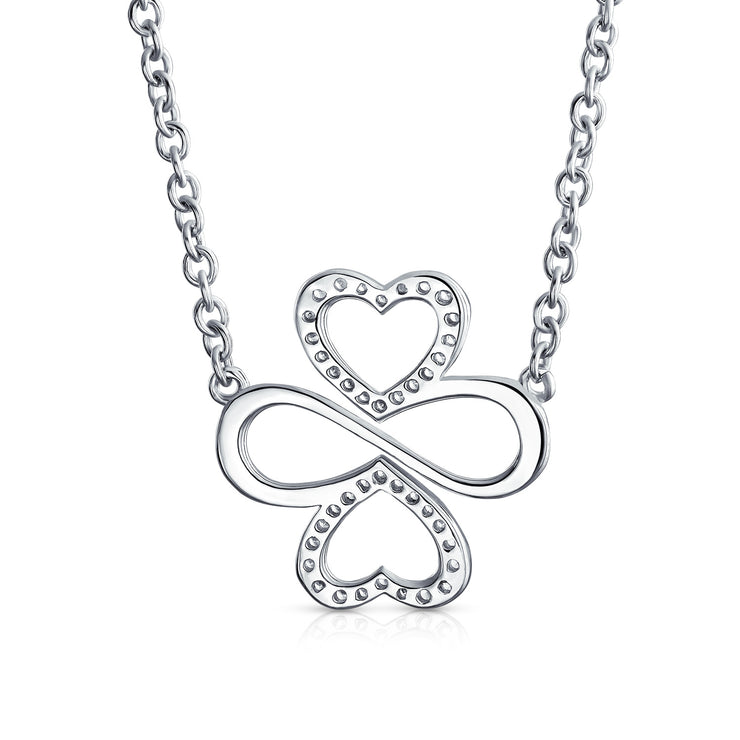 Ayllu Pave CZ Heart Infinity Clover Pendant Necklace Love Luck Unity
