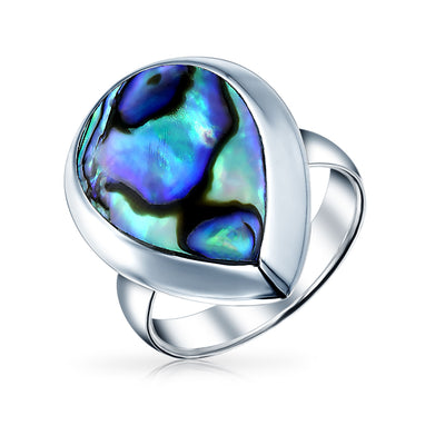 Large Teardrop Bezel Rainbow Shell Abalone Ring 925 Sterling Silver