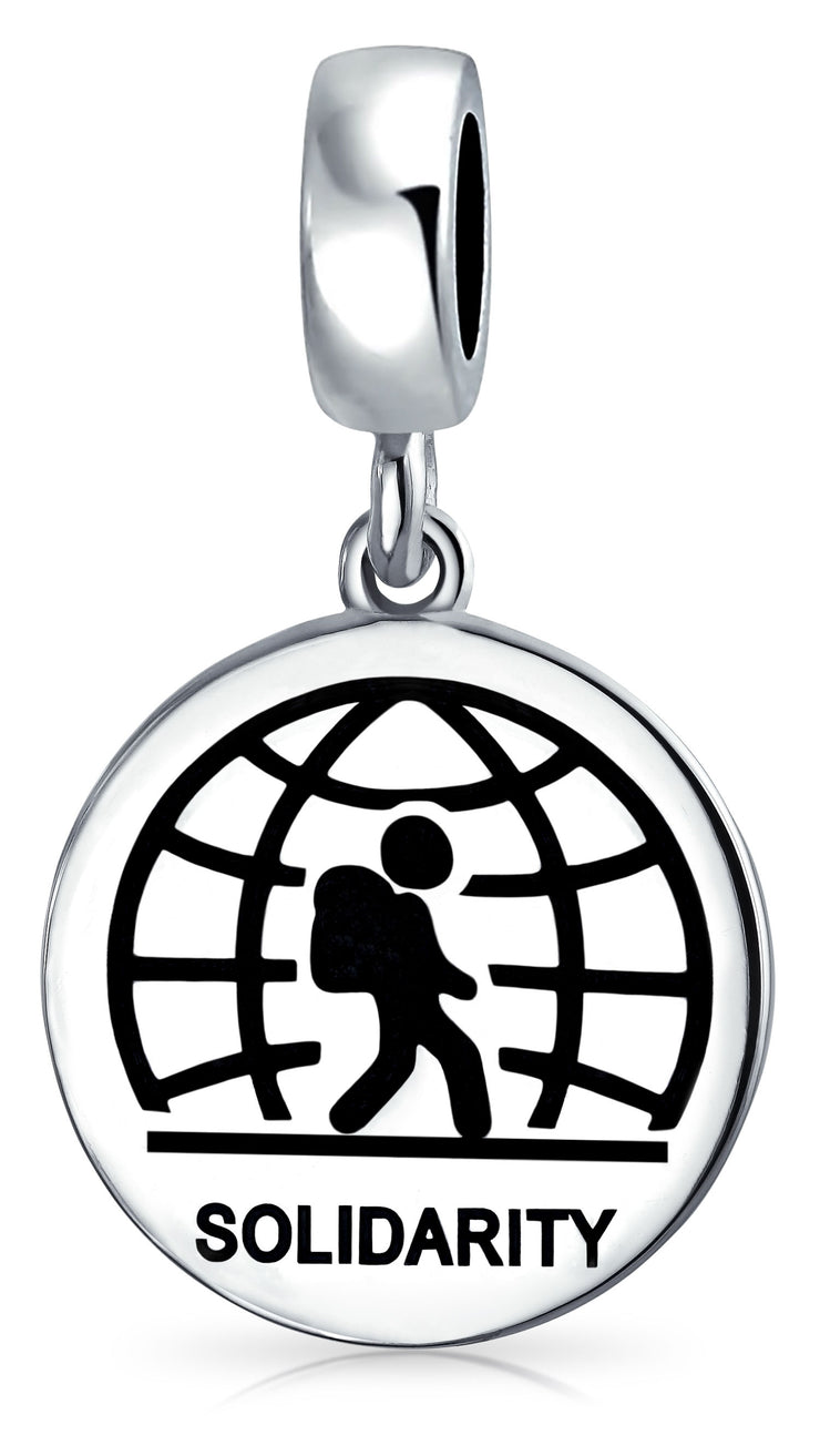 Support For Refugees Traveling Immigrants Solidarity Dangle Bead Charm