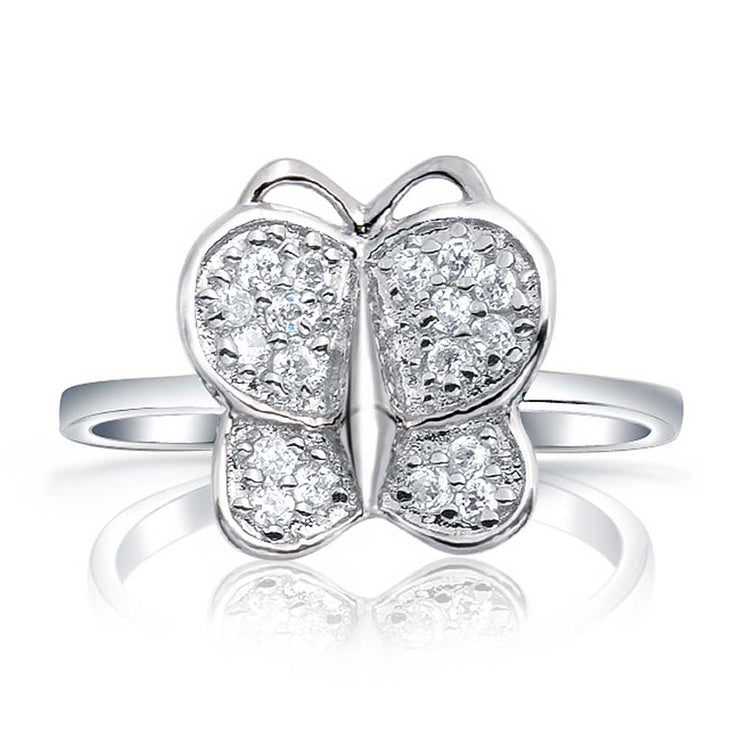 Boho Fashion Cubic Zirconia Pave CZ Butterfly Ring Silver Plated Brass