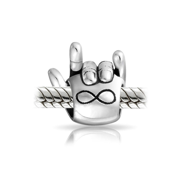 Infinite Love Sign Language Hand Sign Symbol Charm Bead Silver