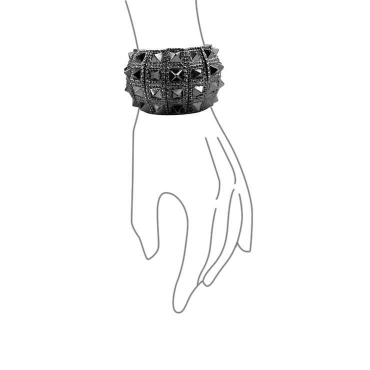 Black Gun Wide Cuff Stretch Bracelet Bikers Punk Rockers Alloy