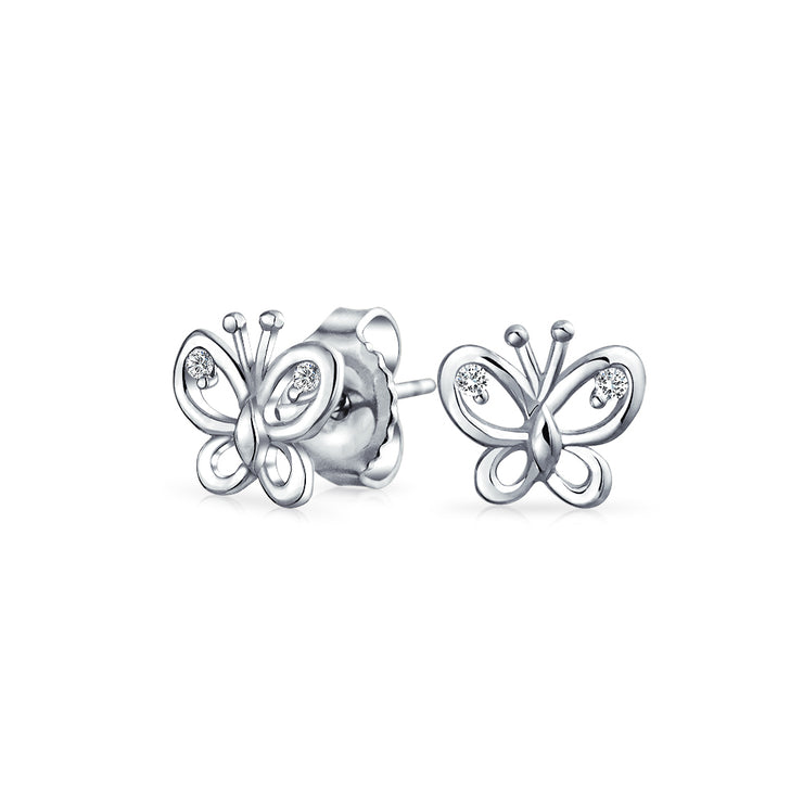 Cubic Zirconia Open Garden Butterfly Stud Earrings 925 Sterling Silver