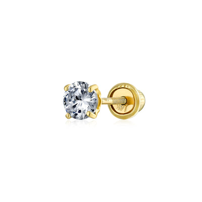 .25CT Cubic Zirconia Solitaire CZ Stud Cartilage Earring REAL 14K Gold