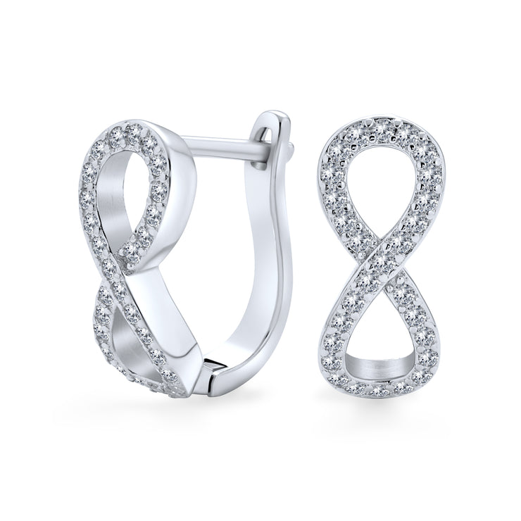 CZ Eternity Infinity Hoop Earrings 925 Sterling Silver