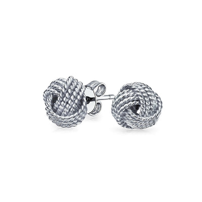 Ball Twisted Cable Braided Rope Knot Stud Earrings Sterling Silver