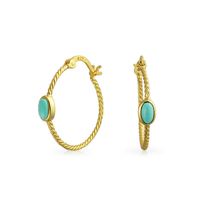 Cable Rope Hoop Earrings Turquoise Gold Plated Sterling Silver