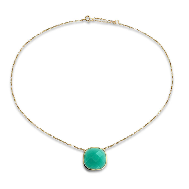 Teal Green Stone Pendant Necklace Chalcedony 14K Gold Plated Silver