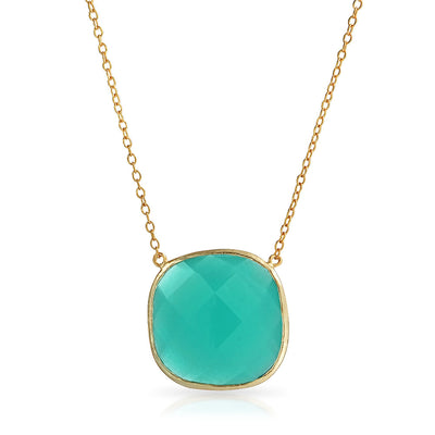 Teal Green Stone Pendant Necklace Chalcedony Gold Plated Silver