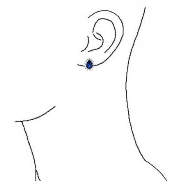 2.5CT Blue Simulated Sapphire Teardrop CZ Stud Earrings Silver Plated