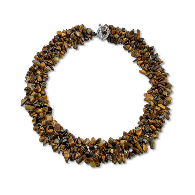 Chunky Brown Tiger Eye Stone Chips Statement Bib Necklace Collar