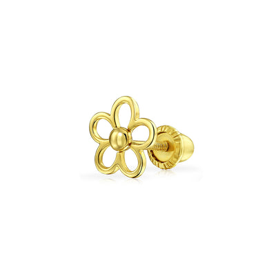 Minimalist Daisy Flower Cartilage Earrings Real 14K Gold Screwback