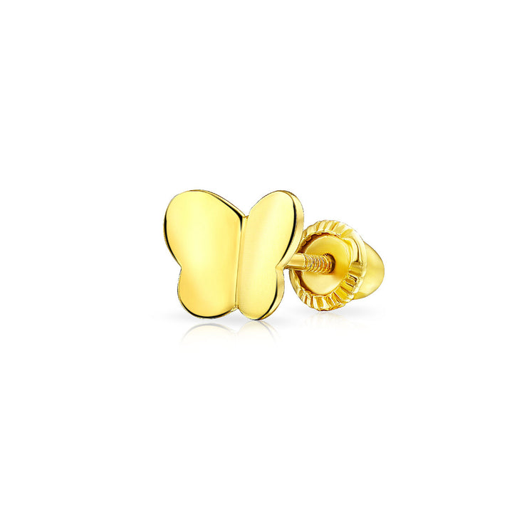 Minimalist Butterfly Cartilage Earring Real 14K Yellow Gold Screwback