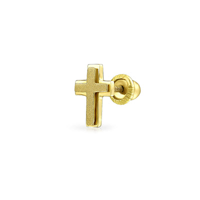 Tiny Helix Cartilage Ear Lobe Solid Cross Stud Earring 14K Gold