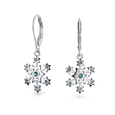 Christmas Snowflake Drop Earrings Blue Imitation Topaz Sterling Silver