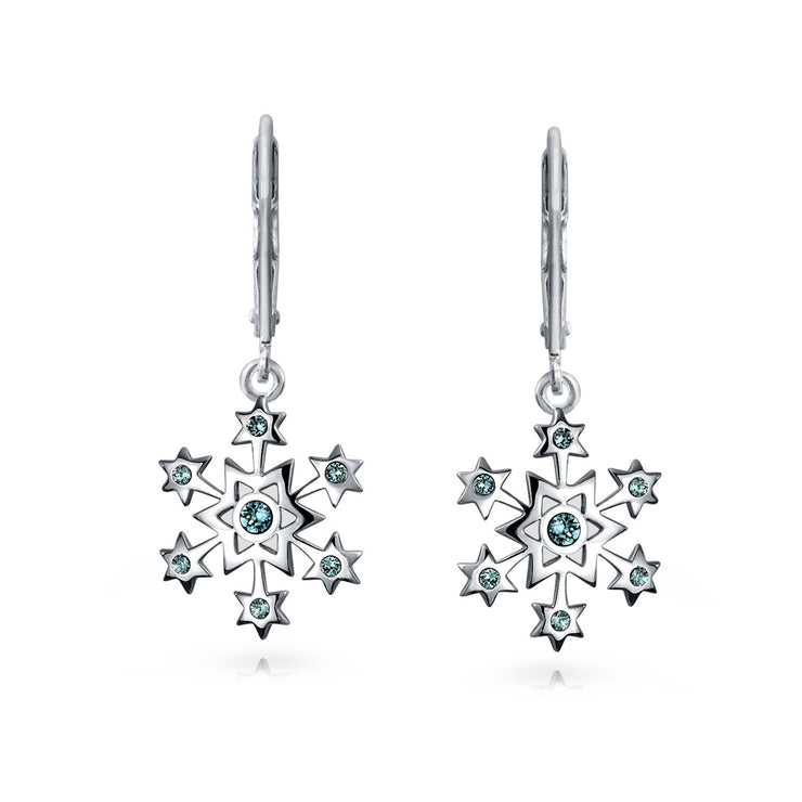 Christmas Snowflake Star Drop Earrings Blue  Simulated  Topaz 925 Sterling Silver
