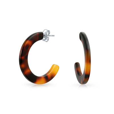 Brown Acrylic Tortoise Shell Flat Hoop Stud Earrings Stainless Steel