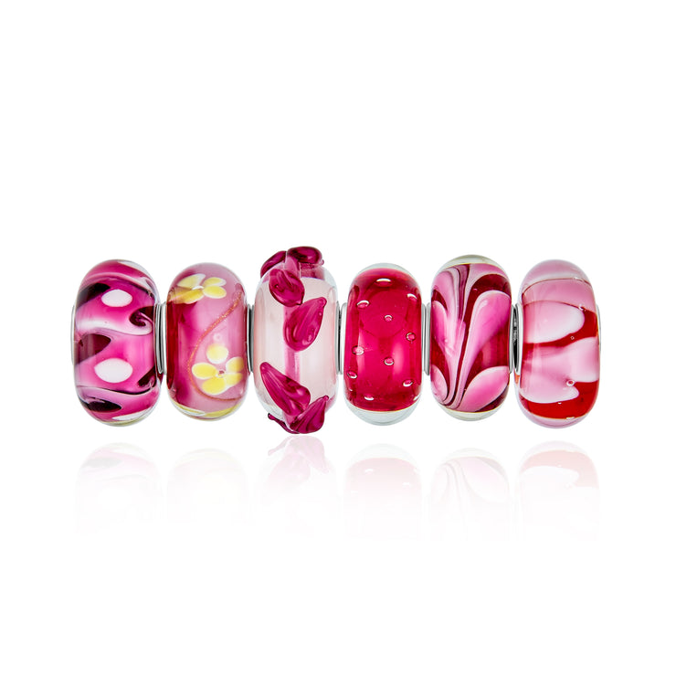 Pink Red White Murano Glass Bead Charm Bundle Set 925 Sterling Silver