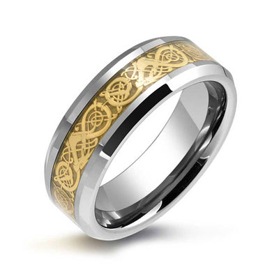 Golden Celtic Knot Dragon Inlay Wedding Band Tungsten Ring For Men 8mm