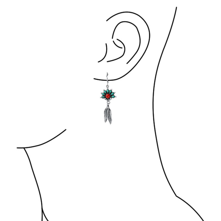 Compressed Turquoise Coral Feather Dangle Earrings Sterling Silver
