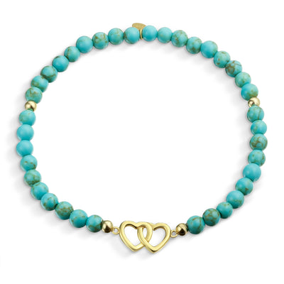 Heart BFF Turquoise Bead Bracelet Gold Plated 925 Sterling Silver