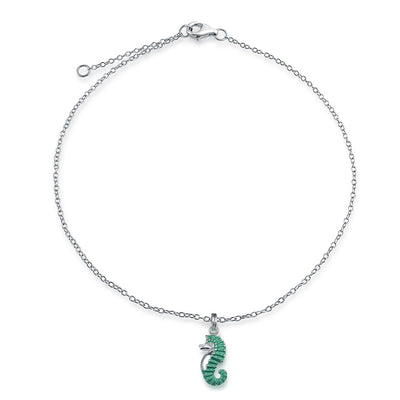 Seahorse Nautical Aqua Blue Stardust Dangle Charm Anklet 925 Silver