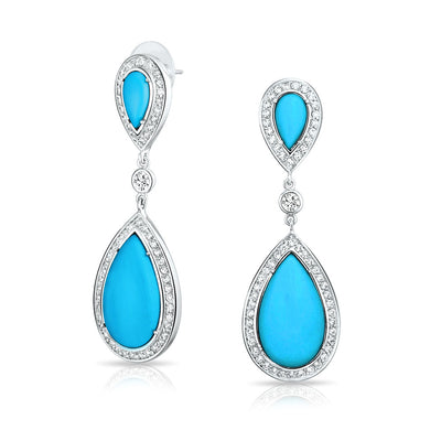 CZ Blue Turquoise Statement Dangle Chandelier Teardrop Earrings Silver