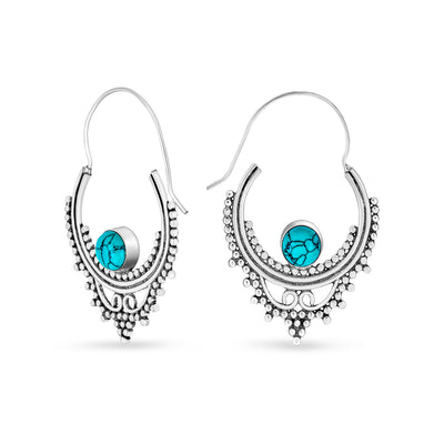 Bali Style Boho Hoop Earrings Reconstituted Turquoise Silver Plated