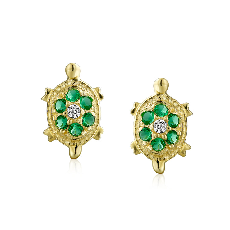 Green Sea Turtle Stud Earrings Cubic Zirconia 14K Real Gold Screwback