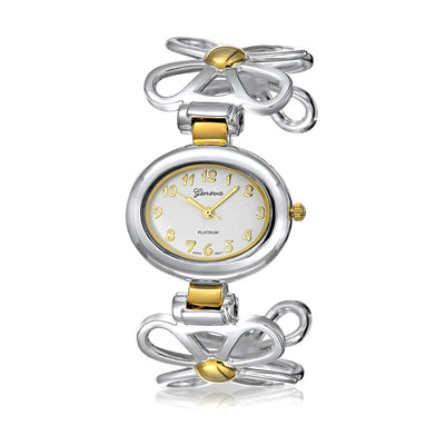 Two Tone Daisy Flower Band White Oval Dial Cuff Wrist Watch Gold Plate