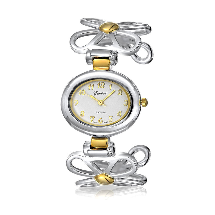 Two Tone Daisy Flower Band White Oval Dial Cuff Watch Gold Plated