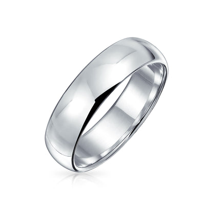 Plain Simple 925 Sterling Silver Dome Couples Wedding Band Ring 5MM