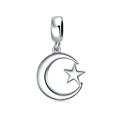 Moon And Star Muslim Support Symbol Dangle Bead Charm 925 Silver