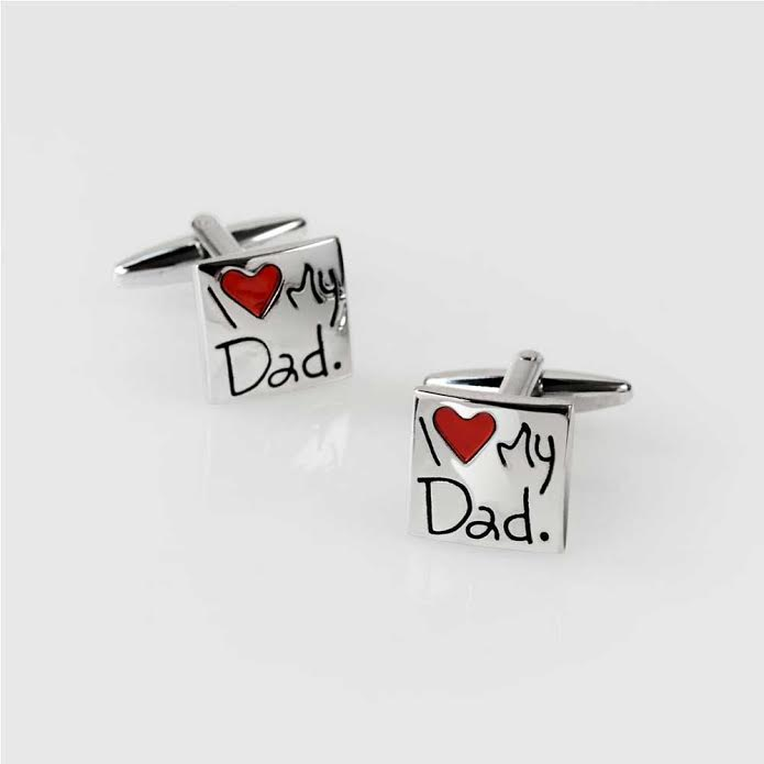 I Love My Dad Red Heart Square Shirt Cufflinks Daddy Stainless Steel