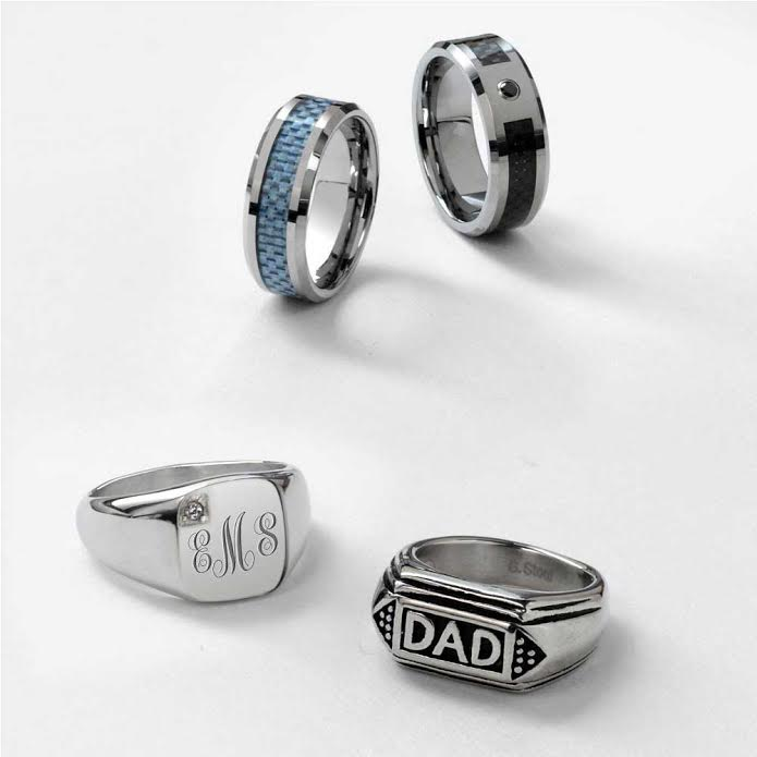 Mens DAD Word Band Signet Rings For Father Day Gift Stainless Steel