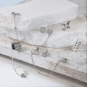 Square Chain Cartilage Earring CZ Stud Ear Set 925 Sterling Silver