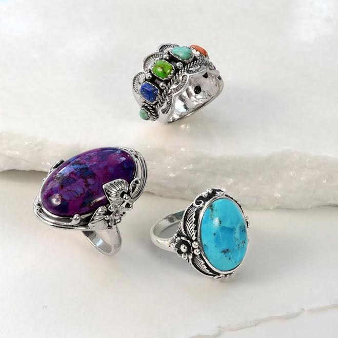 Statement Boho Oval Enhanced Purple Turquoise Ring 925 Sterling Silver