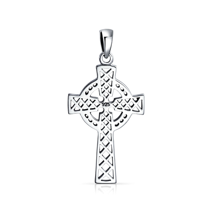 Irish Viking Love Knot Celtic Trinity Cross Pendant Necklace Sterling